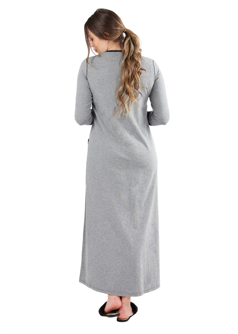 Iris Contrast Gown | MeMoi womens sleepwear collection | Pajamas for Women | womens clothing |  Gray Heather CNL04665 -2