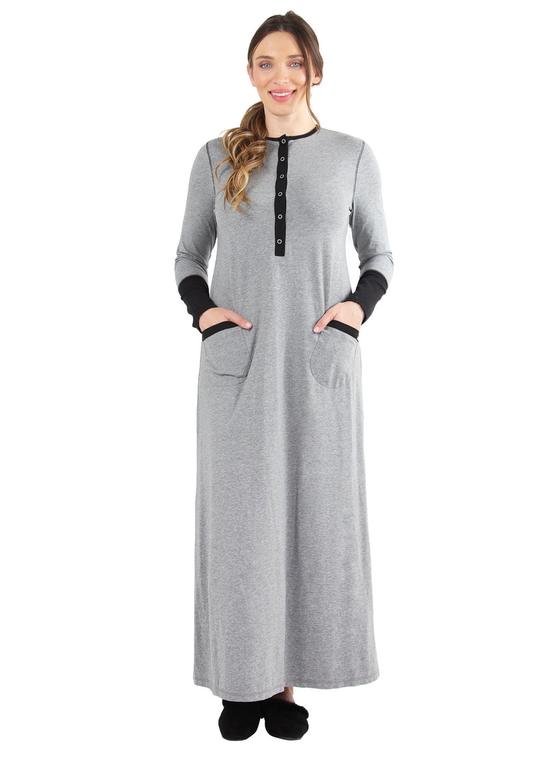Iris Contrast Gown | MeMoi womens sleepwear collection | Pajamas for Women | womens clothing |  Gray Heather CNL04665