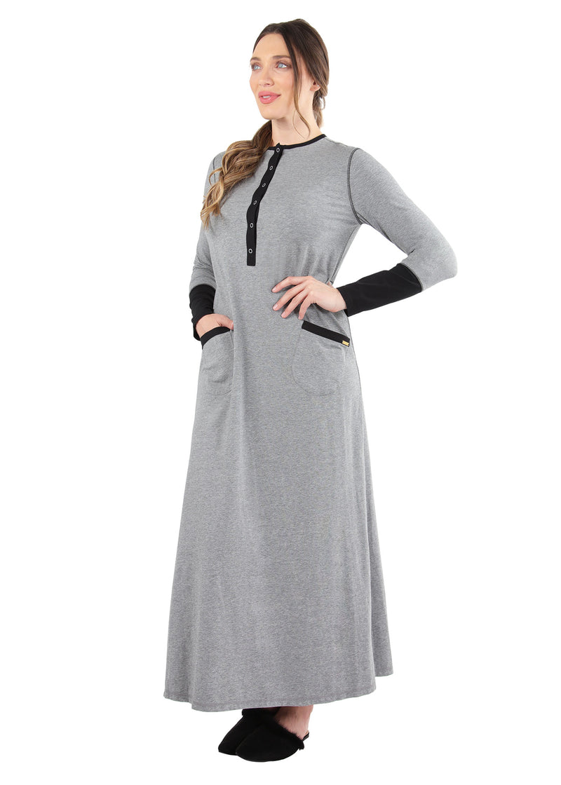 Iris Contrast Gown | MeMoi womens sleepwear collection | Pajamas for Women | womens clothing |  Gray Heather CNL04665 -3