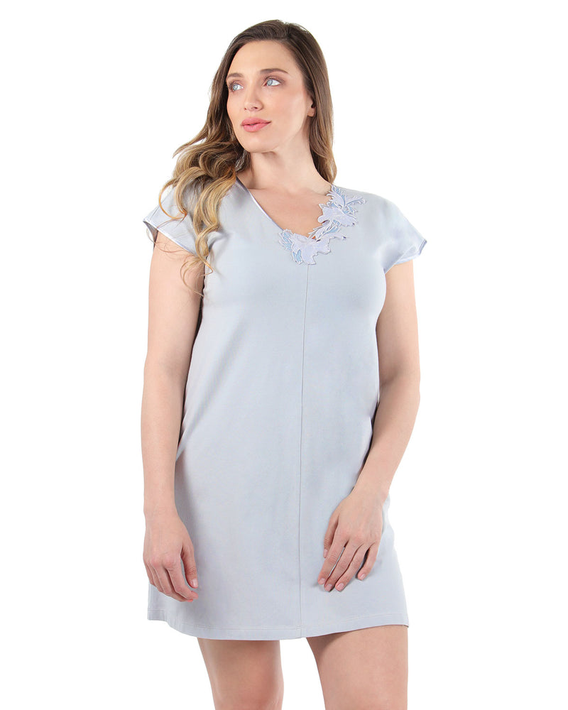 Floral Lace Nightshirt | MeMoi Womens Sleepwear Collection | Pajamas for Women | Pearl Blue CNS04478 - 2