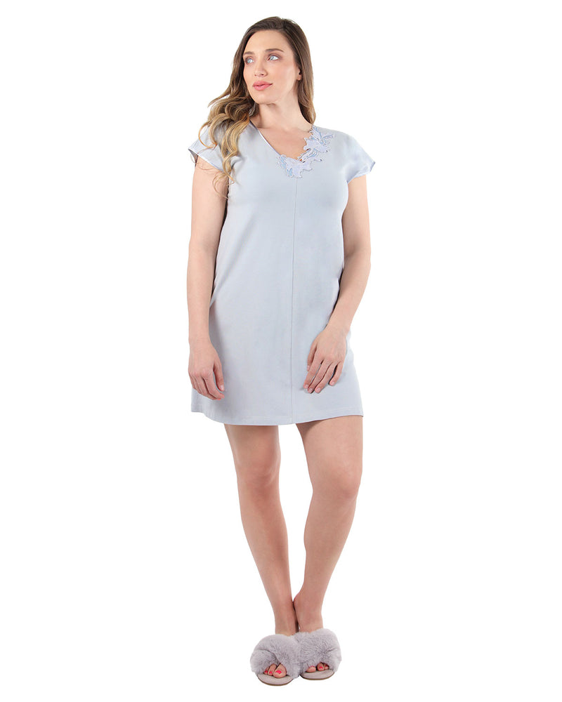 Floral Lace Nightshirt | MeMoi Womens Sleepwear Collection | Pajamas for Women | Pearl Blue CNS04478 - 1