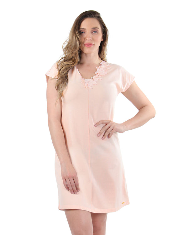 Floral Lace Nightshirt | MeMoi Womens Sleepwear Collection | Pajamas for Women | CreolePink CNS04478 - 2