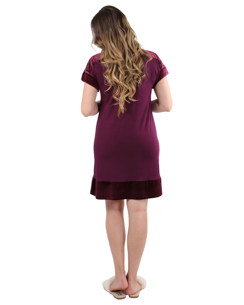 Velour Luxe Frosted Trim Nightshirt | Loungewear By MeMoi®  | CNS05258  | Burgundy 1