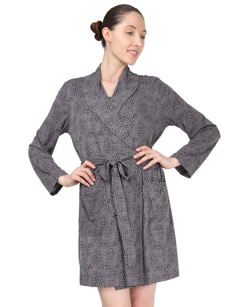 MeMoi Shawl Collar Long Sleeve Robe with Front Pockets | Women's Sleepwear and Loungewear Collection (Front2) | Designer - Asi Efros | Animal Print CRS00037