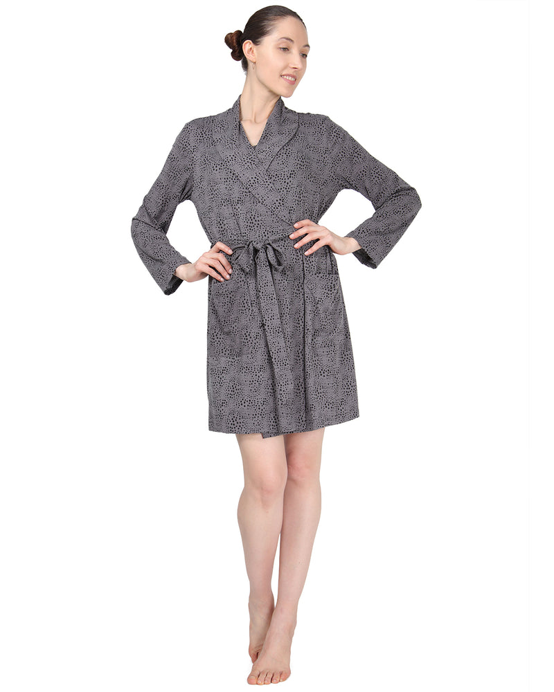 MeMoi Shawl Collar Long Sleeve Robe with Front Pockets | Women's Sleepwear and Loungewear Collection | Designer - Asi Efros | Animal Print CRS00037