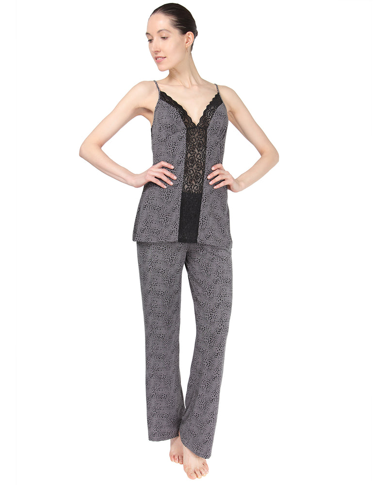 MeMoi Cami Pajama w/ Lace Trim Detail | Women's Sleepwear and Loungewear Collection (front) | Designer - Asi Efros | Animal Print CPJ00038