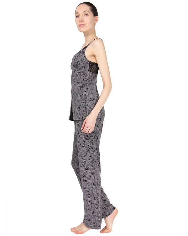 MeMoi Cami Pajama w/ Lace Trim Detail | Women's Sleepwear and Loungewear Collection (Side) | Designer - Asi Efros | Animal Print CPJ00038