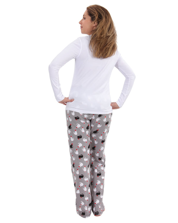 MeMoi Christmas Cat Pajama Set | Women's Pajama Sets | Merry Christmas Sleepwear (Rear) | White CPJ04450