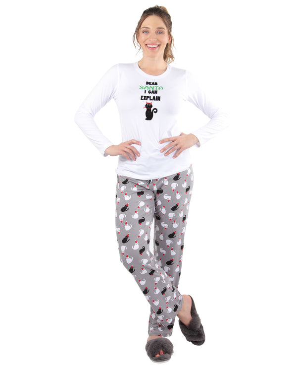 Christmas Cat Pajama Set | Women's Pajamas by MeMoi | Women's Loungewear Clothing | CPJ04450 White - 1