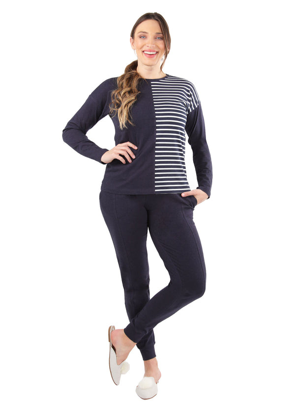 Breton Stripe Two Tone Pajama Set | MeMoi womens sleepwear collection | Pajamas for Women | womens clothing |  Blue Heather CPJ04458