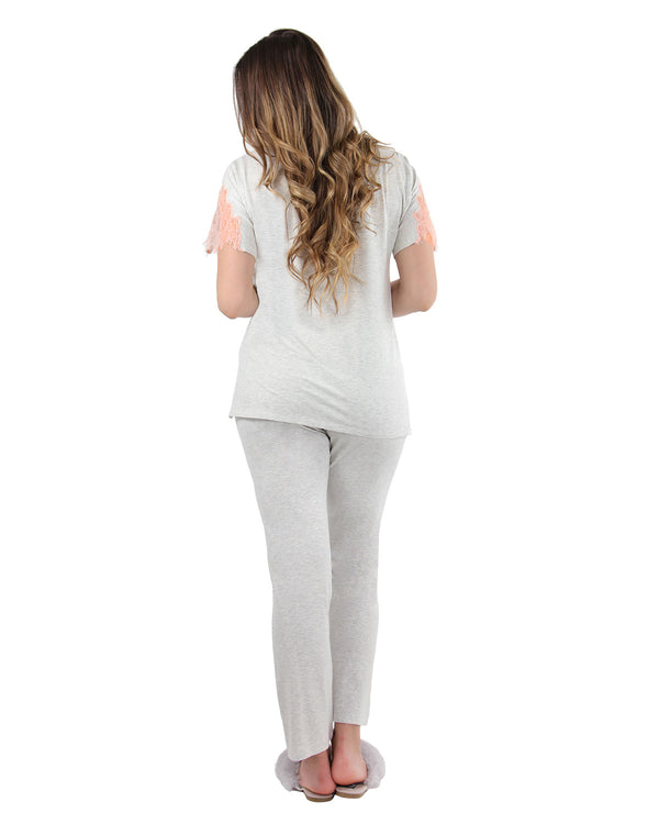 Lace Trim Sleep Set | MeMoi womens sleeperwear collection | Pajamas for Women |  LT Gray Heather CPJ04484 -2