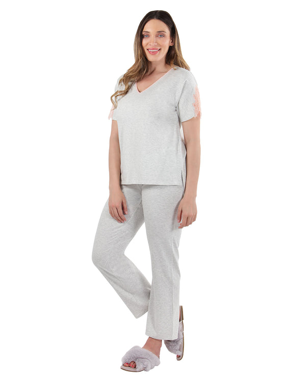 Lace Trim Sleep Set | MeMoi womens sleeperwear collection | Pajamas for Women |  LT Gray Heather CPJ04484