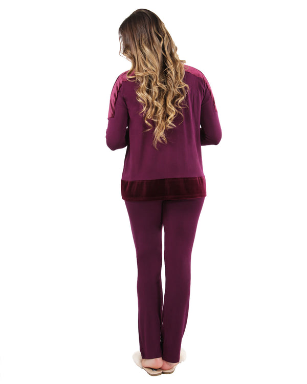 Velour Luxe Frosted Trim Pajama Set | Loungewear By MeMoi®  | CPJ05259  | Burgundy 1