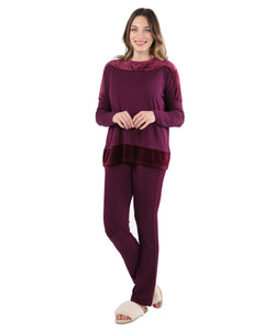 Velour Luxe Frosted Trim Pajama Set | Loungewear By MeMoi®  | CPJ05259  | Burgundy