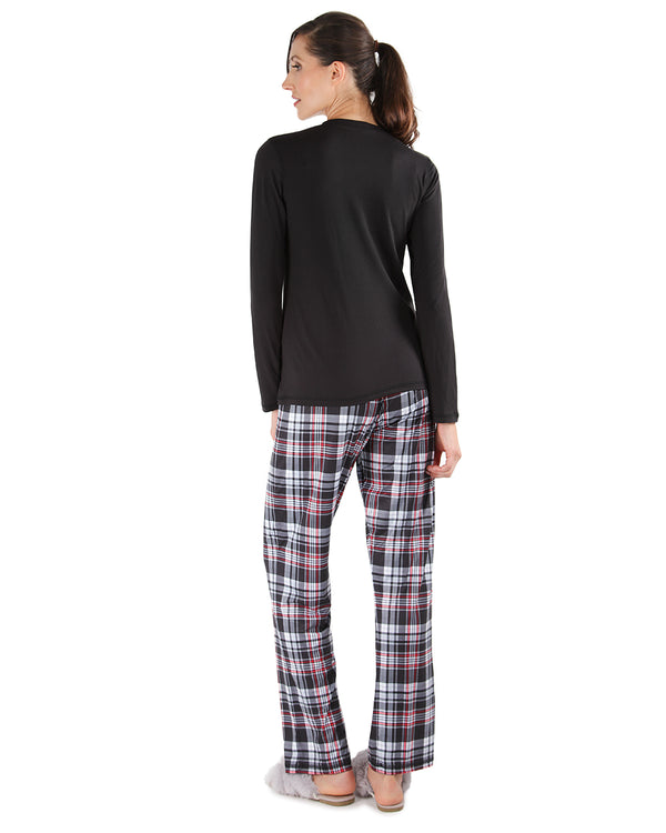 Nice-ish Christmas 2-Piece Pajama Set | Loungewear By MeMoi®  | CPJ05690  | Black 1