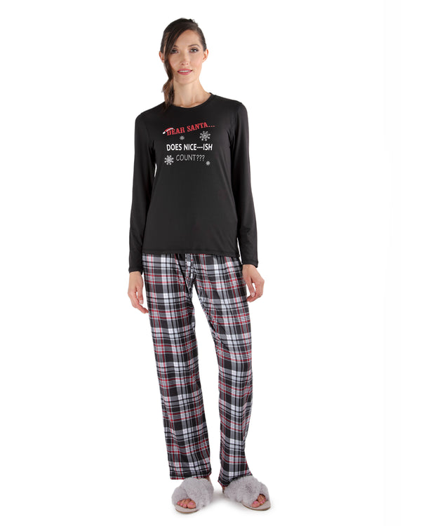 Nice-ish Christmas 2-Piece Pajama Set | Loungewear By MeMoi®  | CPJ05690  | Black
