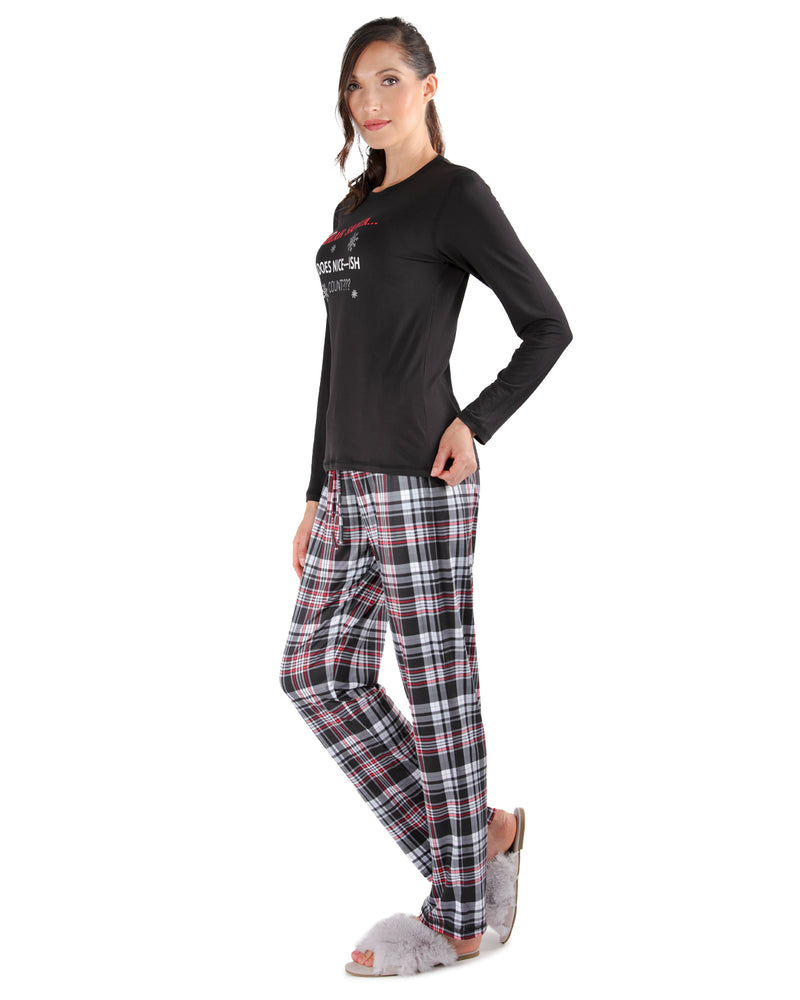 Nice-ish Christmas 2-Piece Pajama Set | Women's Pajamas by MeMoi | Women's Loungewear Clothing | CPJ05690 Black - 3