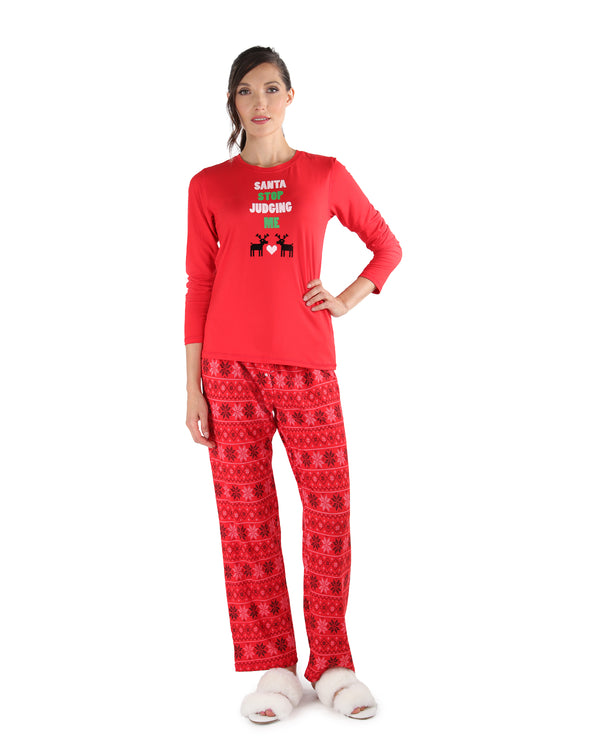 Snowflake Love Pajama Set | Women's Pajamas by MeMoi | Women's Loungewear Clothing | CPJ04449 Red - 1