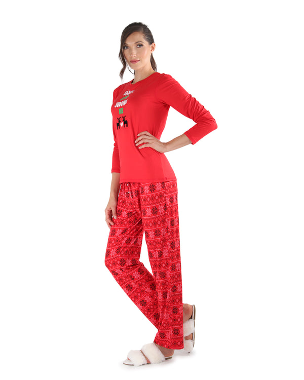 Snowflake Love Pajama Set | Women's Pajamas by MeMoi | Women's Loungewear Clothing | CPJ04449 Red - 2