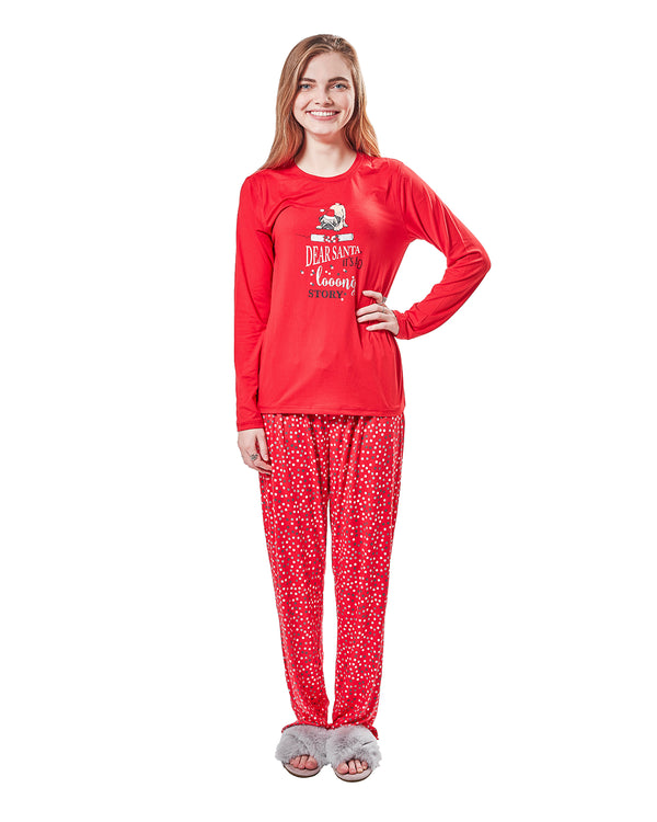 Long Story 2-Piece Pajama Set | Christmas Pajamas for Women | Pajamas by MeMoi | Red CPJ05691