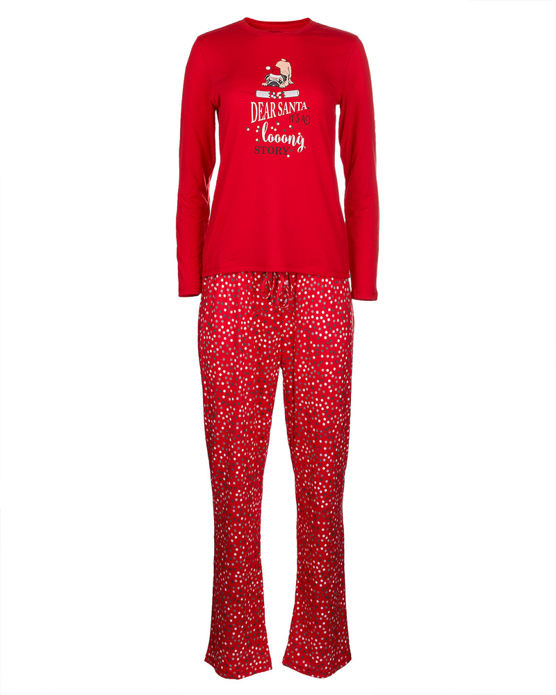 Long Story 2-Piece Pajama Set | Christmas Pajamas for Women | Pajamas by MeMoi | Red CPJ05691 -3