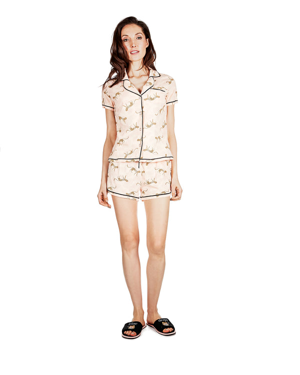 Jungle Cat Notch Collar Pajama Set