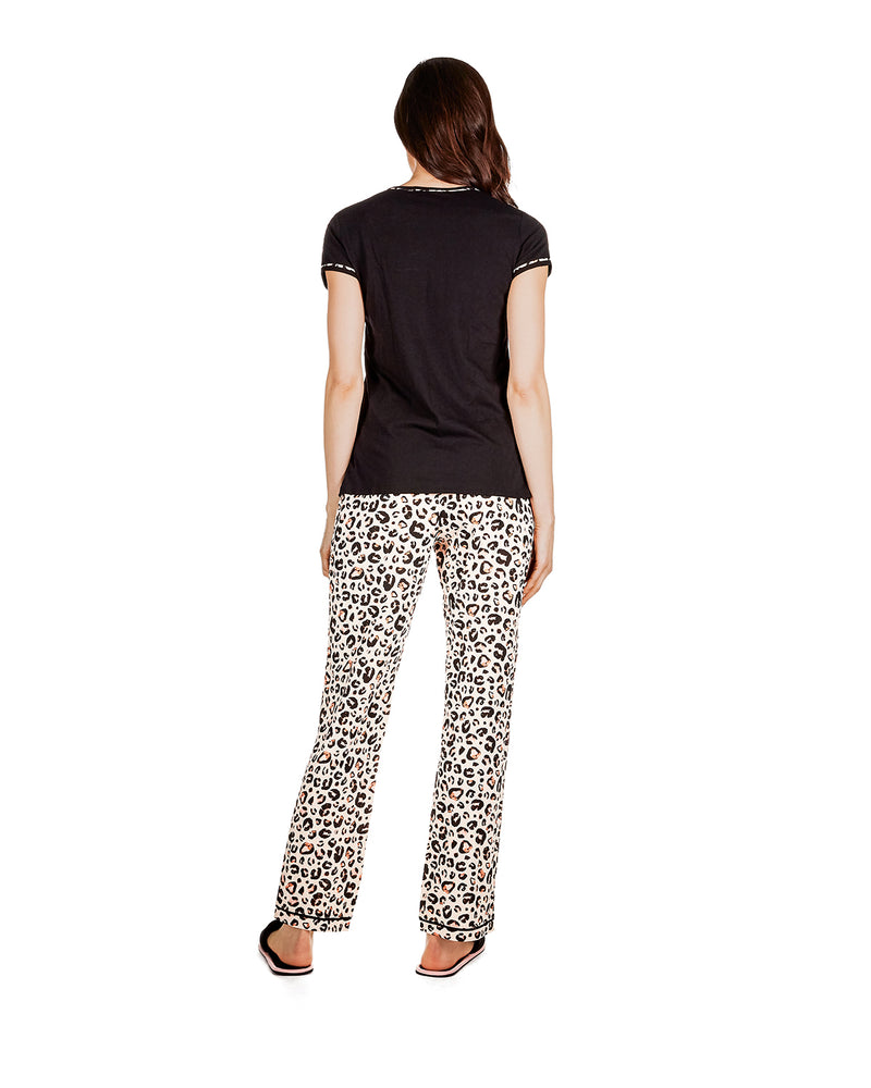 Jungle Cat T-Shirt Pajama Set | Loungewear by MeMoi® | Animal Print Pajamas CPJ06204 - back