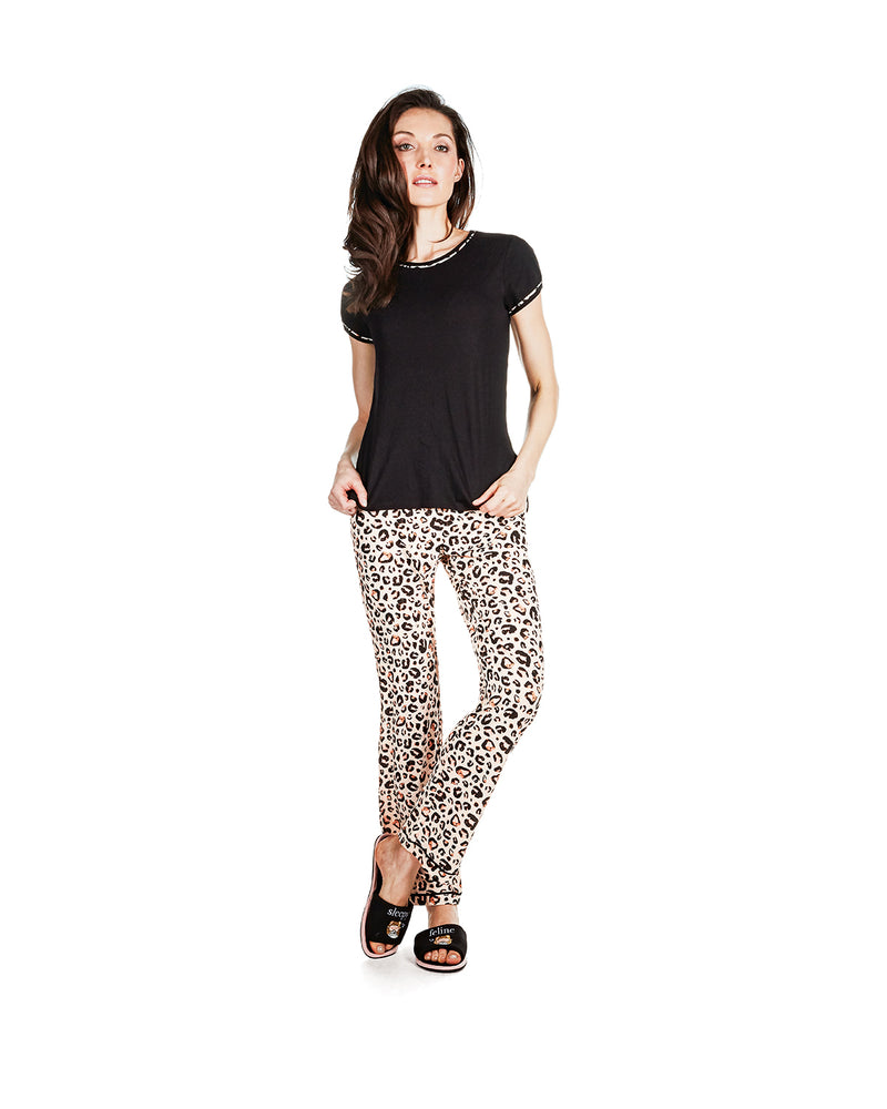 Jungle Cat T-Shirt Pajama Set | Loungewear by MeMoi® | Animal Print Pajamas CPJ06204