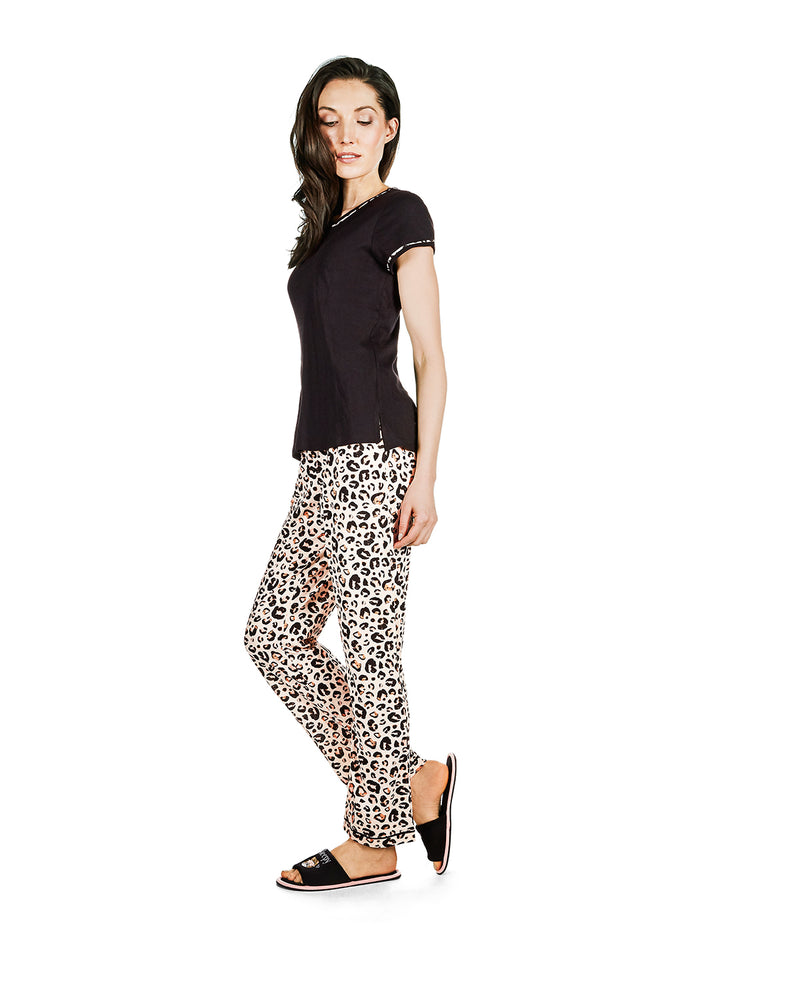 Jungle Cat T-Shirt Pajama Set | Loungewear by MeMoi® | Animal Print Pajamas CPJ06204 - side