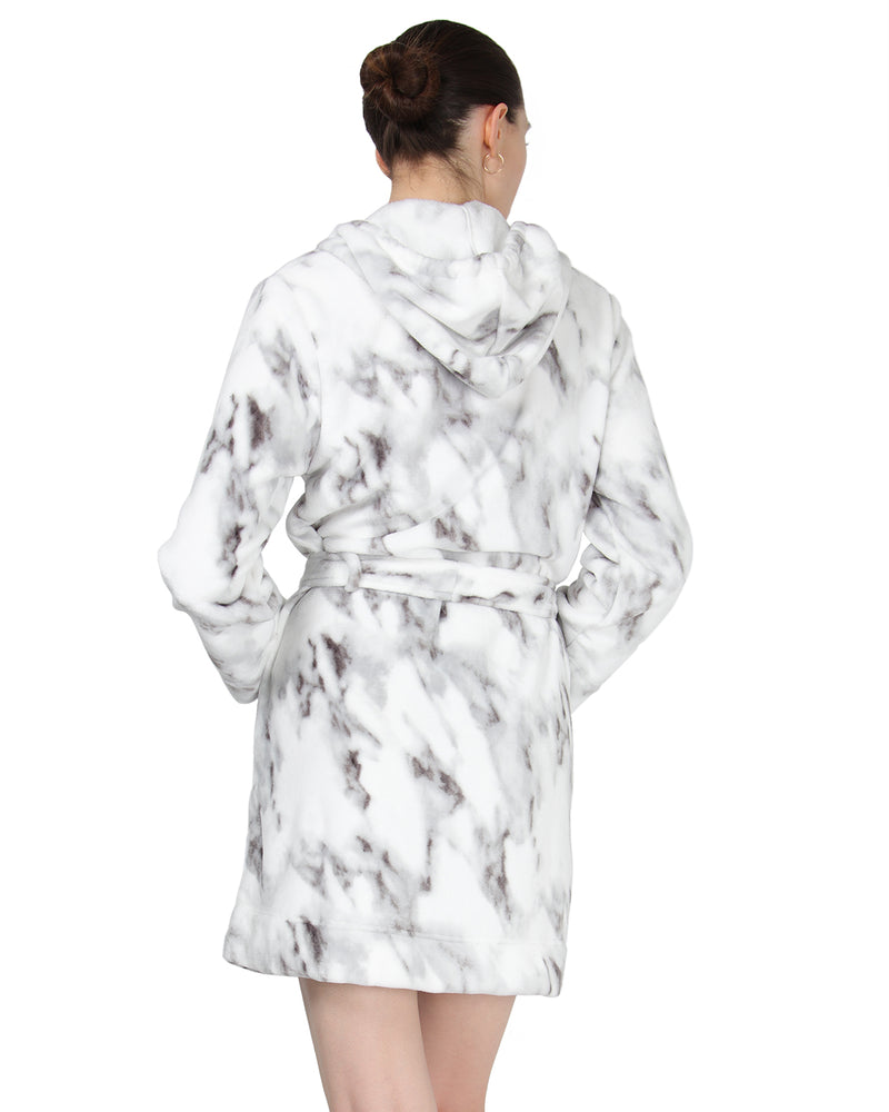 MeMoi Plush Hooded Robe w/ Pom-Pom Drawstrings | Women's Sleepwear and Loungewear Collection (Rear) | Designer - Asi Efros | Black/Ivory CRS00016
