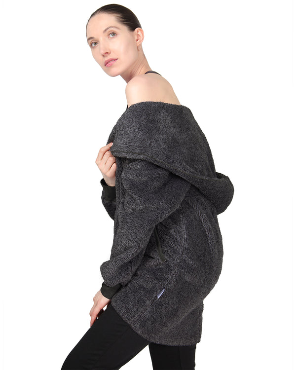 MeMoi Open Front Shawl Collar Lounge Sweater | Women's Sleepwear and Loungewear Collection (Side) | Designer - Asi Efros | Charcoal CRS00022