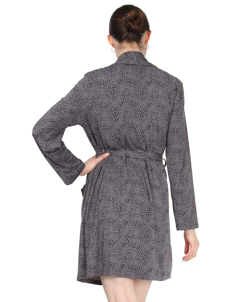 MeMoi Shawl Collar Long Sleeve Robe with Front Pockets | Women's Sleepwear and Loungewear Collection (Rear) | Designer - Asi Efros | Animal Print CRS00037