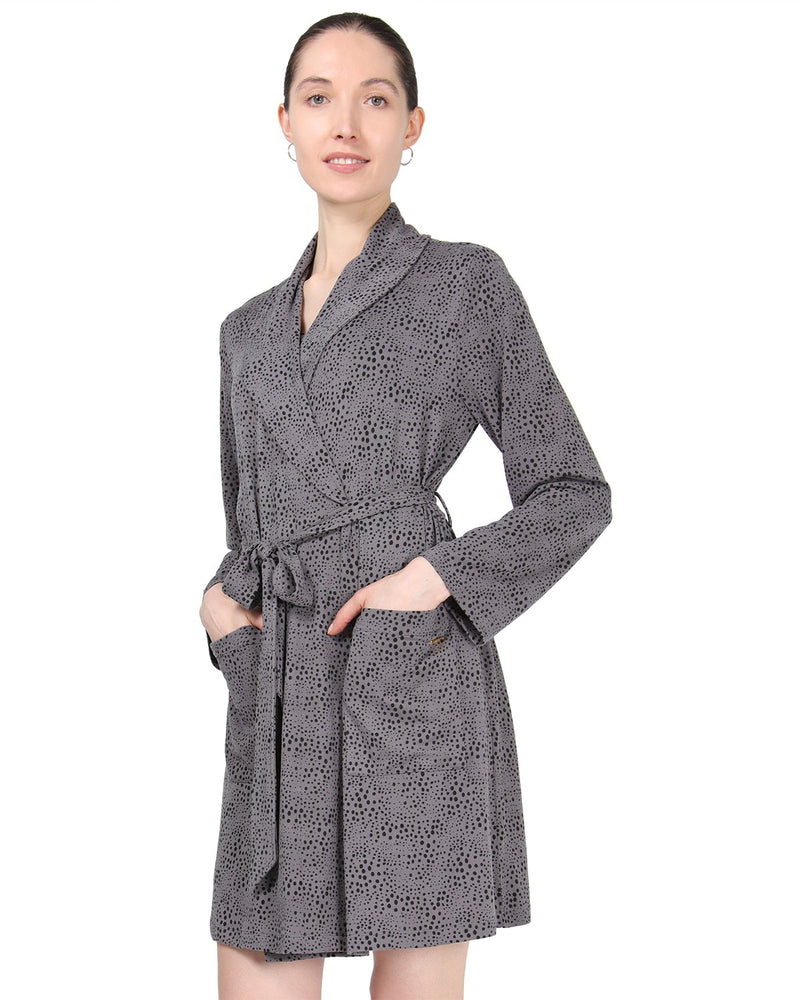 MeMoi Shawl Collar Long Sleeve Robe with Front Pockets | Women's Sleepwear and Loungewear Collection (Side) | Designer - Asi Efros | Animal Print CRS00037