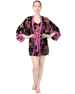 MeMoi Velvet Burnout Kimono Robe | Sleep and Loungewear (front) | Designer - Asi Efros | Black CRS00068