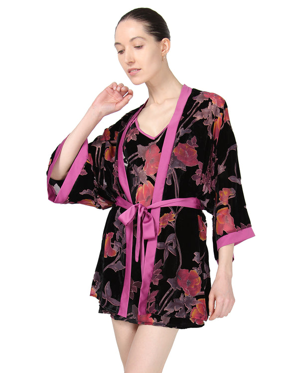 MeMoi Velvet Burnout Kimono Robe | Sleep and Loungewear (front-2) | Designer - Asi Efros | Black CRS00068