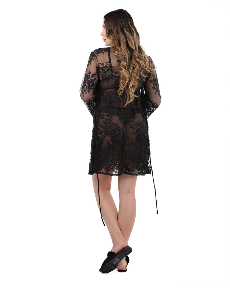 Bell Sleeve Lace Robe with Eyelash Scalloped Hem