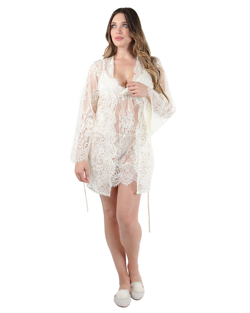 Bell Sleeve Lace Robe w/ Eyelash Scalloped Hem