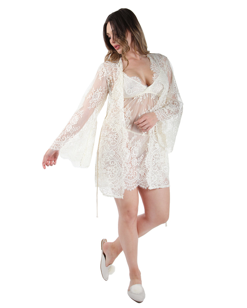 MeMoi Collection Bell Sleeve Lace Robe with Eyelash Scalloped Hem