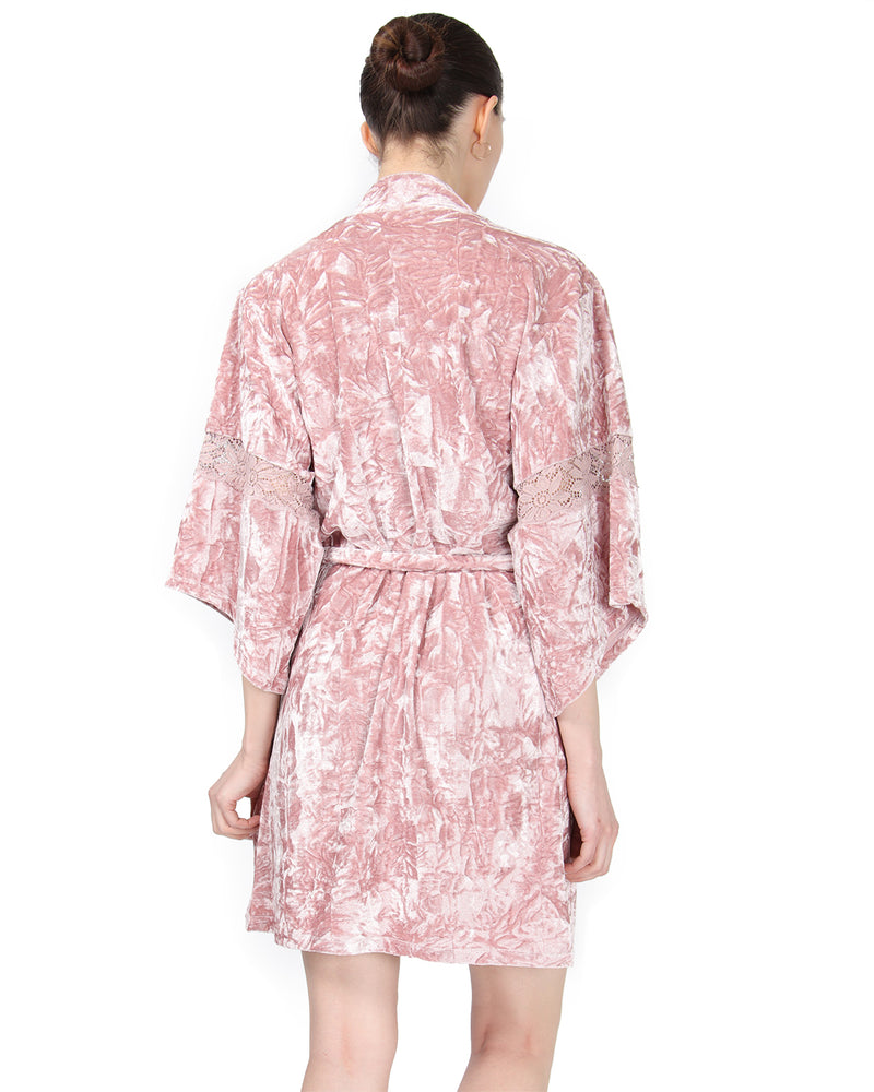 MeMoi Crushed Velvet Kimono Robe | Women's Sleepwear and Loungewear Collection (Rear) | Designer - Asi Efros | Rose CRS00146