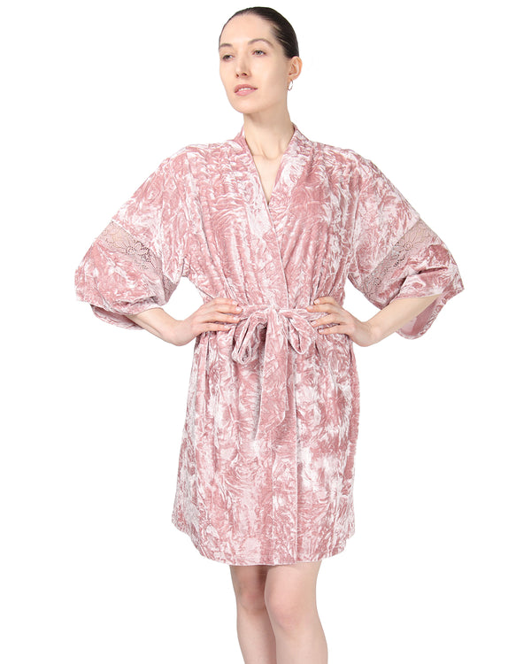 MeMoi Crushed Velvet Kimono Robe | Women's Sleepwear and Loungewear Collection (front-2) | Designer - Asi Efros | Rose CRS00146
