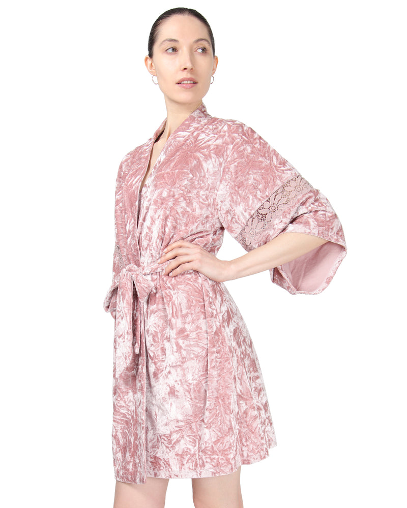 MeMoi Crushed Velvet Kimono Robe | Women's Sleepwear and Loungewear Collection (Side) | Designer - Asi Efros | Rose CRS00146