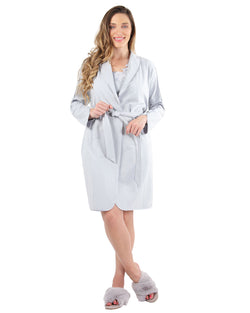 Lace Applique Robe | MeMoi Womens Sleepwear Collection | Womens Robes | Pearl Blue CRS04480 - 1