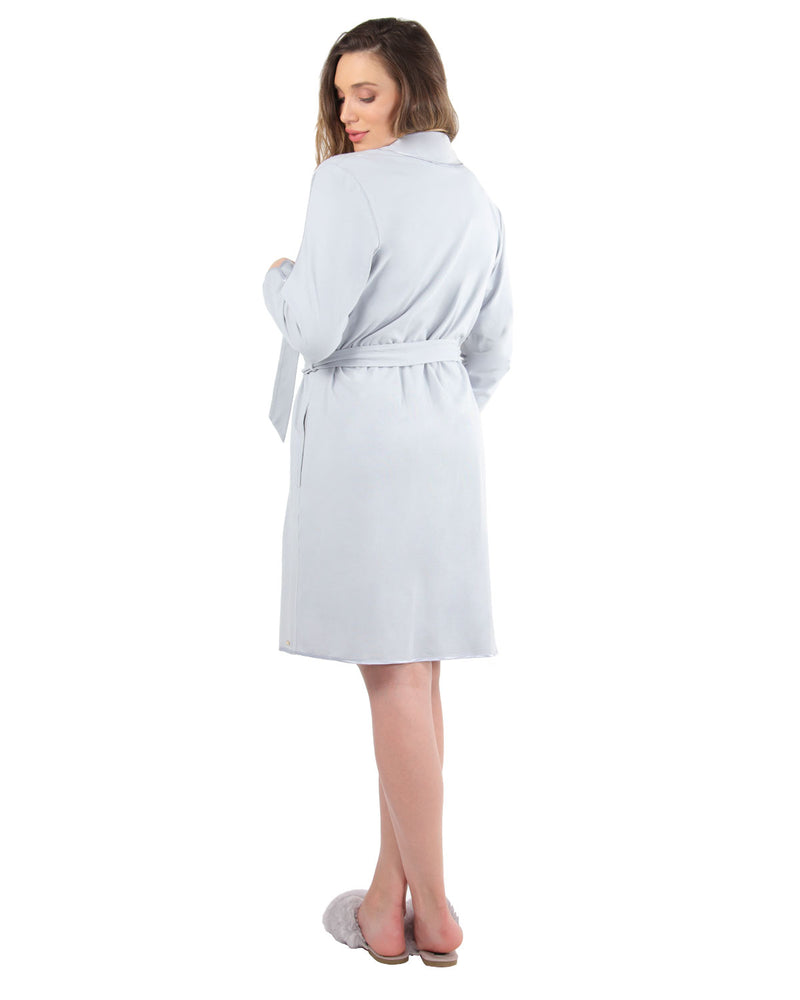 Lace Applique Robe | MeMoi Womens Sleepwear Collection | Womens Robes | Pearl Blue CRS04480 - 3