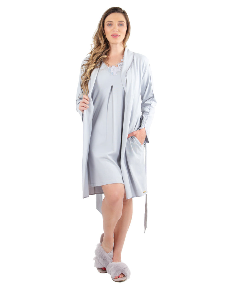 Lace Applique Robe | MeMoi Womens Sleepwear Collection | Womens Robes | Pearl Blue CRS04480 - 2