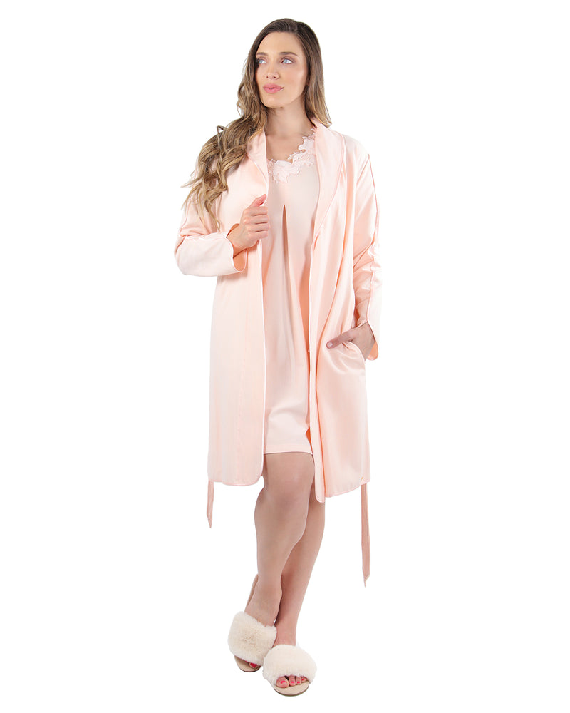 Lace Applique Robe | MeMoi Womens Sleepwear Collection | Womens Robes | CreolePink CRS04480 - 2