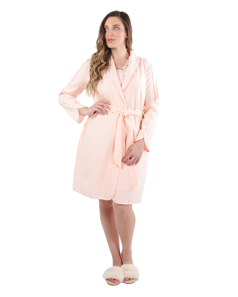 Lace Applique Robe | MeMoi Womens Sleepwear Collection | Womens Robes | CreolePink CRS04480 - 1