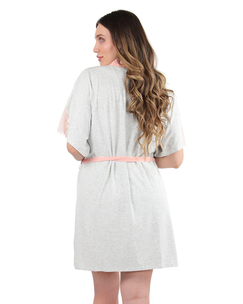 Lace Trim Robe | MeMoi womens sleeperwear robe collection | Pajamas for Women | LT Gray Heather CRS04487 -6