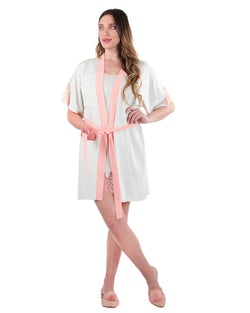 MeMoi Collection Peach Pink Lace Trim Robe