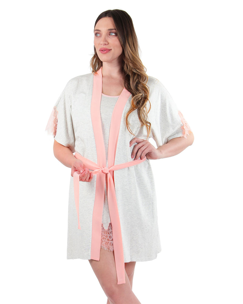 Lace Trim Robe | MeMoi womens sleeperwear robe collection | Pajamas for Women | LT Gray Heather CRS04487 -2