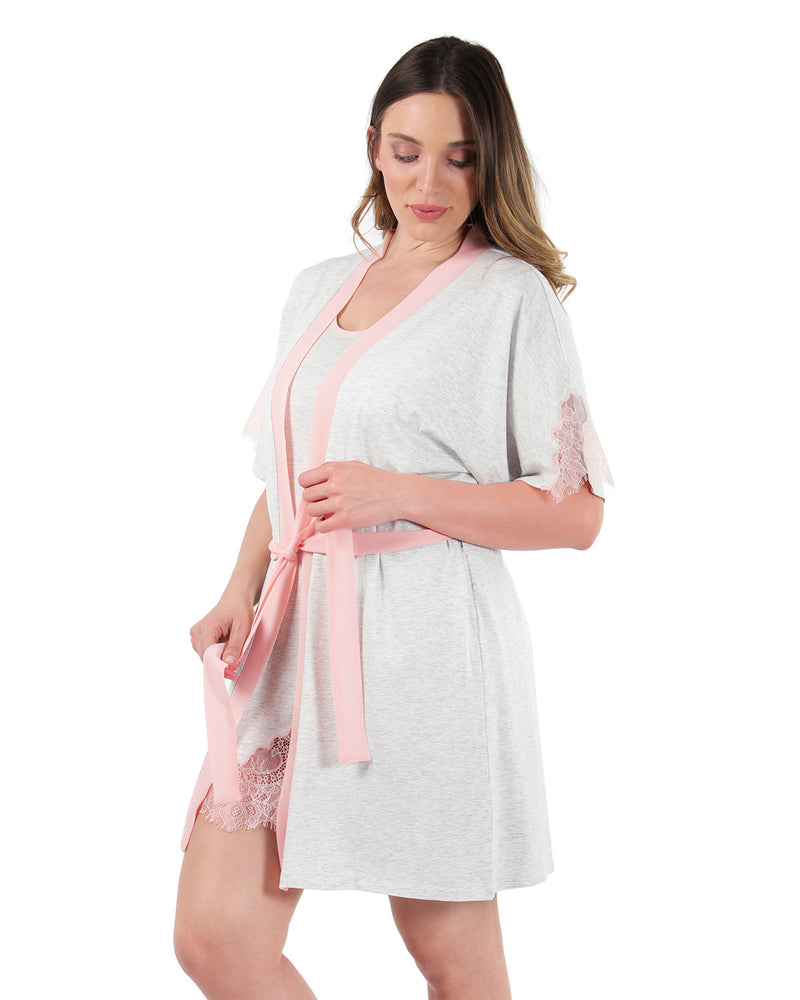 Lace Trim Robe | MeMoi womens sleeperwear robe collection | Pajamas for Women | LT Gray Heather CRS04487 -4